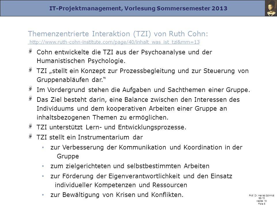 IT-Projektmanagement, Vorlesung Sommersemester 2013 Prof. Dr. Herrad Schmidt SS 13 Kapitel 10 Folie 5 Themenzentrierte Interaktion (TZI) von Ruth Cohn