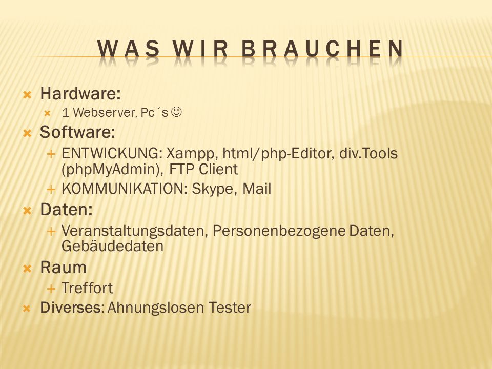Hardware: 1 Webserver, Pc´s Software: ENTWICKUNG: Xampp, html/php-Editor, div.Tools (phpMyAdmin), FTP Client KOMMUNIKATION: Skype, Mail Daten: Veranst