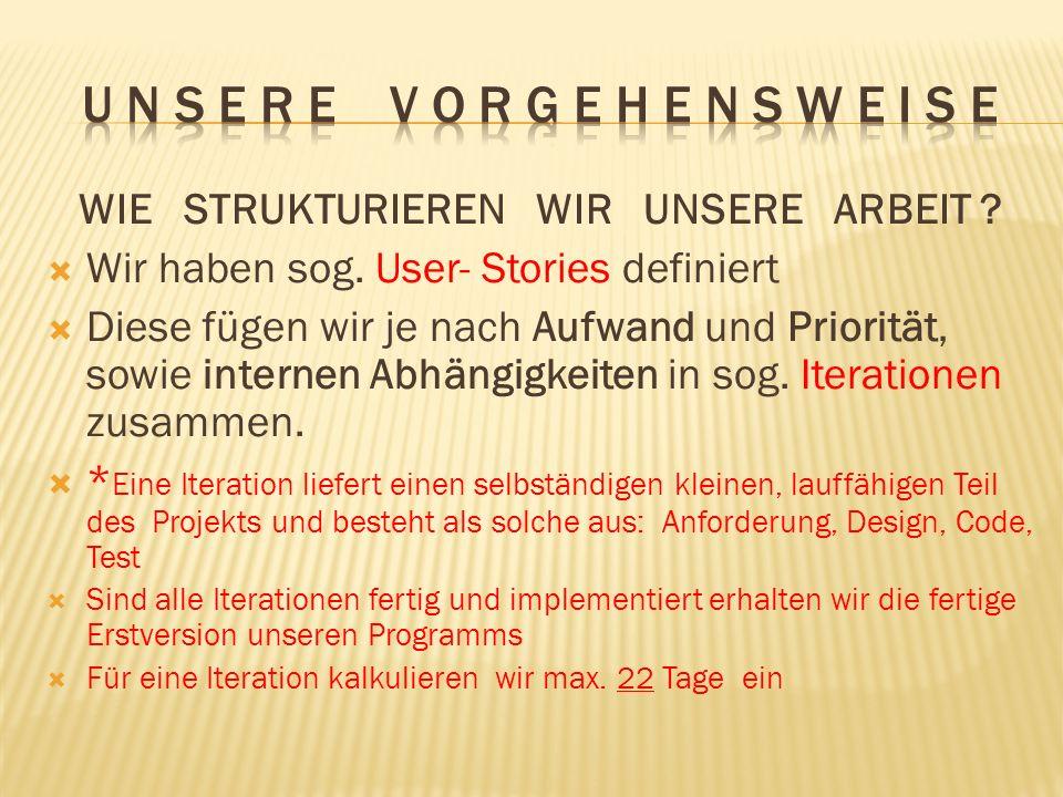 WIE STRUKTURIEREN WIR UNSERE ARBEIT ? Wir haben sog. User- Stories definiert Diese fügen wir je nach Aufwand und Priorität, sowie internen Abhängigkei