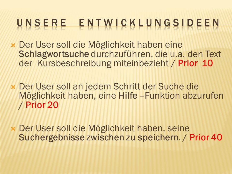 Der User soll die Möglichkeit haben eine Schlagwortsuche durchzuführen, die u.a. den Text der Kursbeschreibung miteinbezieht / Prior 10 Der User soll