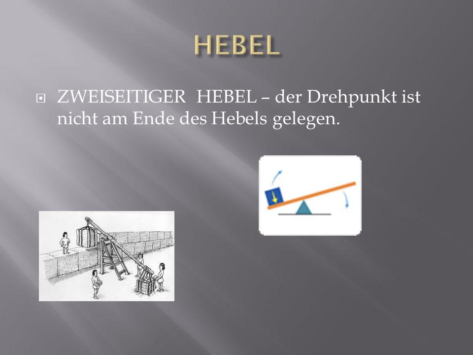 ZWEISEITIGER HEBEL – der Drehpunkt ist nicht am Ende des Hebels gelegen.
