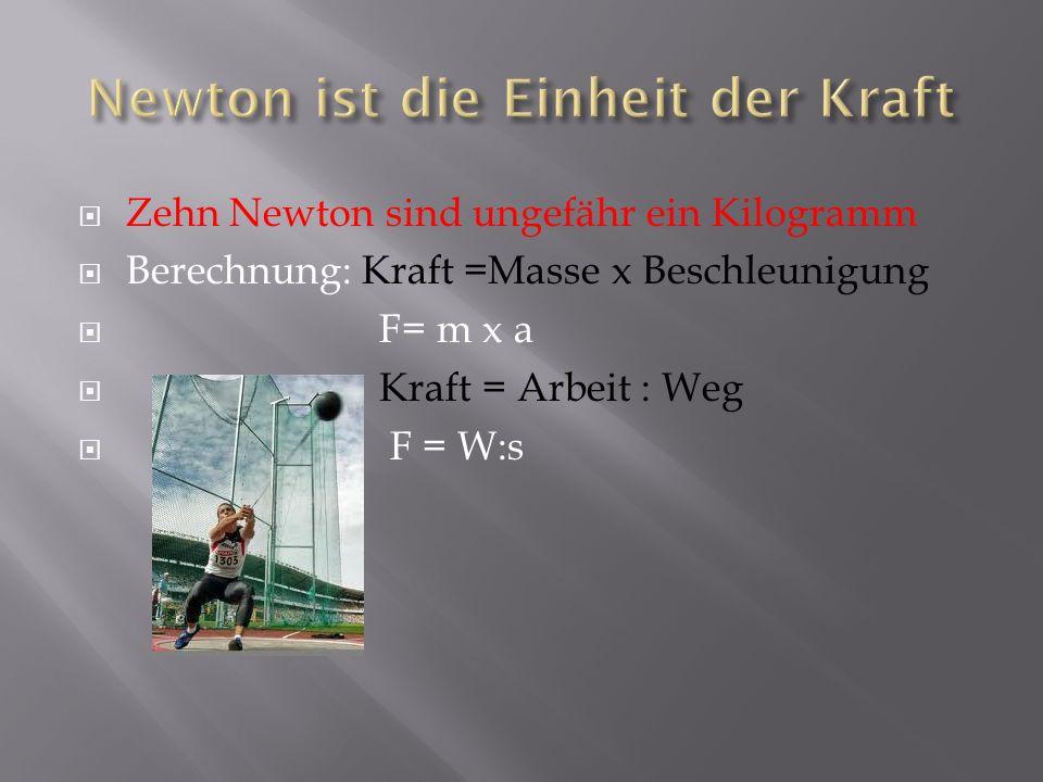 Zehn Newton sind ungefähr ein Kilogramm Berechnung: Kraft =Masse x Beschleunigung F= m x a Kraft = Arbeit : Weg F = W:s