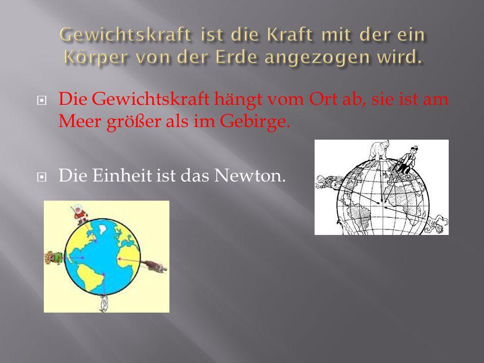Die Gewichtskraft hängt vom Ort ab, sie ist am Meer größer als im Gebirge. Die Einheit ist das Newton.