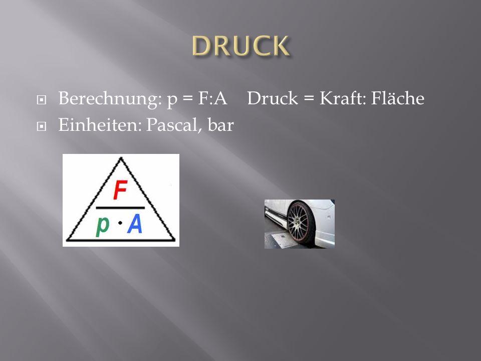 Berechnung: p = F:A Druck = Kraft: Fläche Einheiten: Pascal, bar