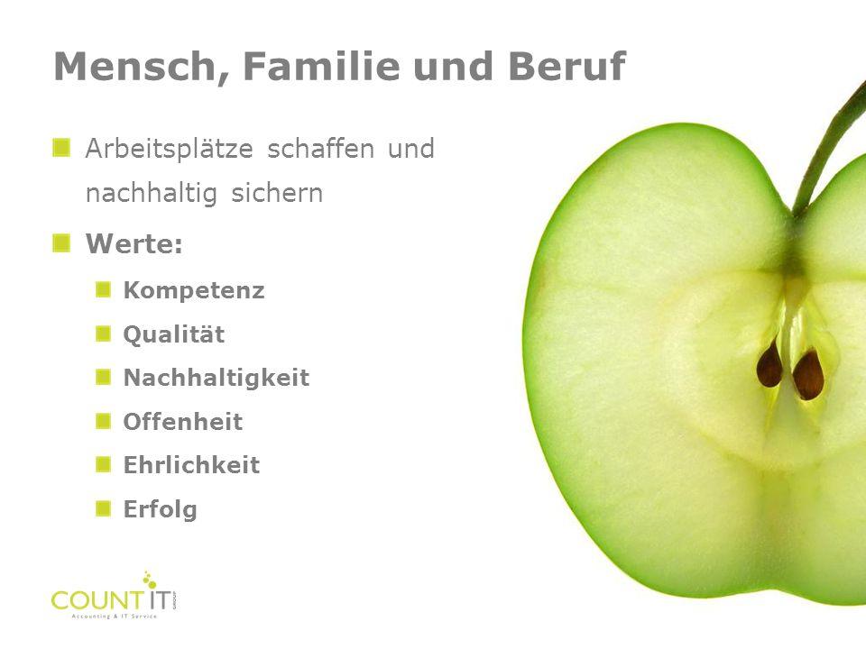Arbeitsplätze schaffen und nachhaltig sichern Werte: Kompetenz Qualität Nachhaltigkeit Offenheit Ehrlichkeit Erfolg Mensch, Familie und Beruf