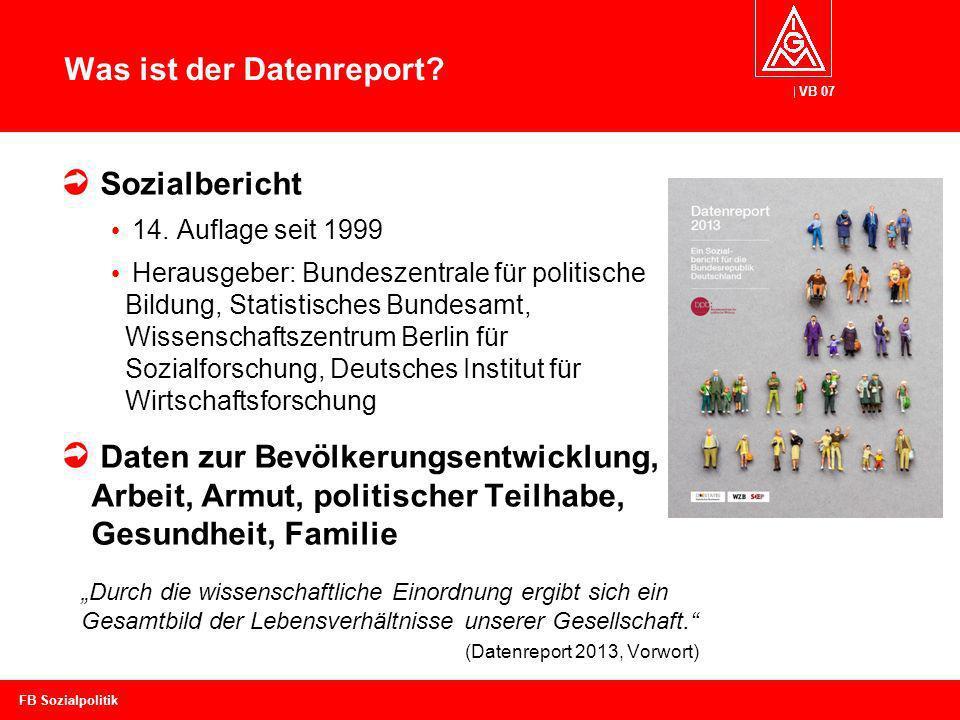 VB 07 Was ist der Datenreport? Sozialbericht 14. Auflage seit 1999 Herausgeber: Bundeszentrale für politische Bildung, Statistisches Bundesamt, Wissen