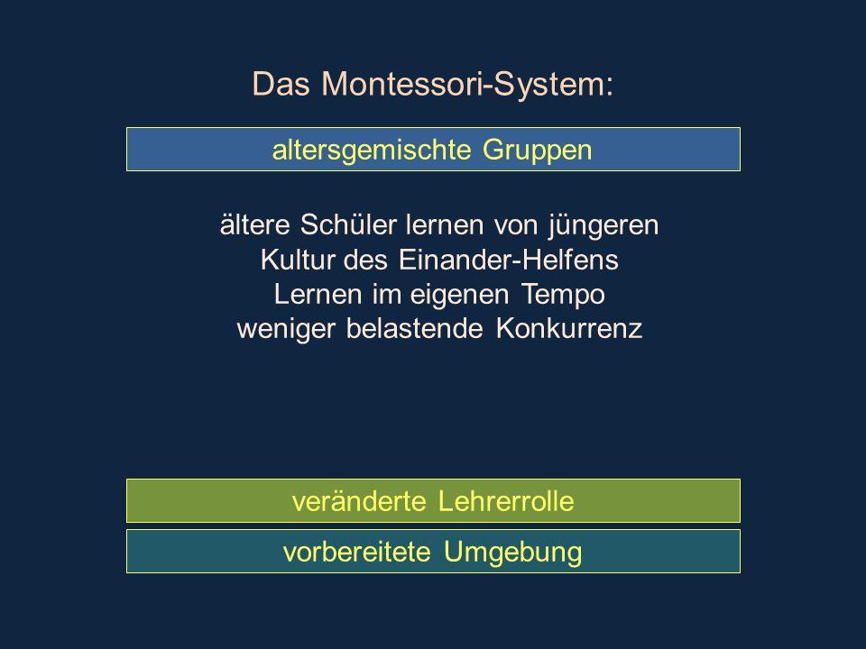 Das Montessori-System: vorbereitete Umgebung veränderte Lehrerrolle altersgemischte Gruppen ältere Schüler lernen von jüngeren Kultur des Einander-Hel