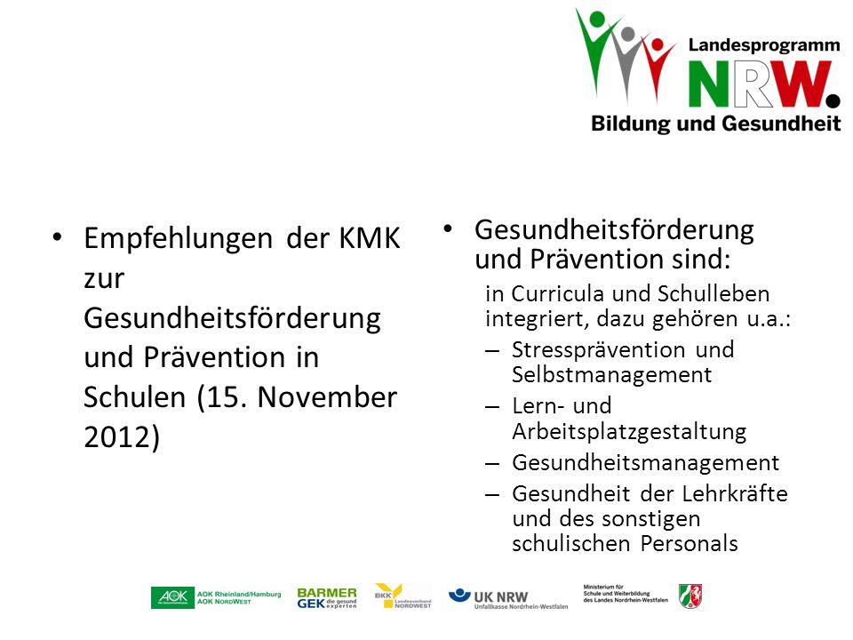 Empfehlungen der KMK zur Gesundheitsförderung und Prävention in Schulen (15. November 2012) Gesundheitsförderung und Prävention sind: in Curricula und