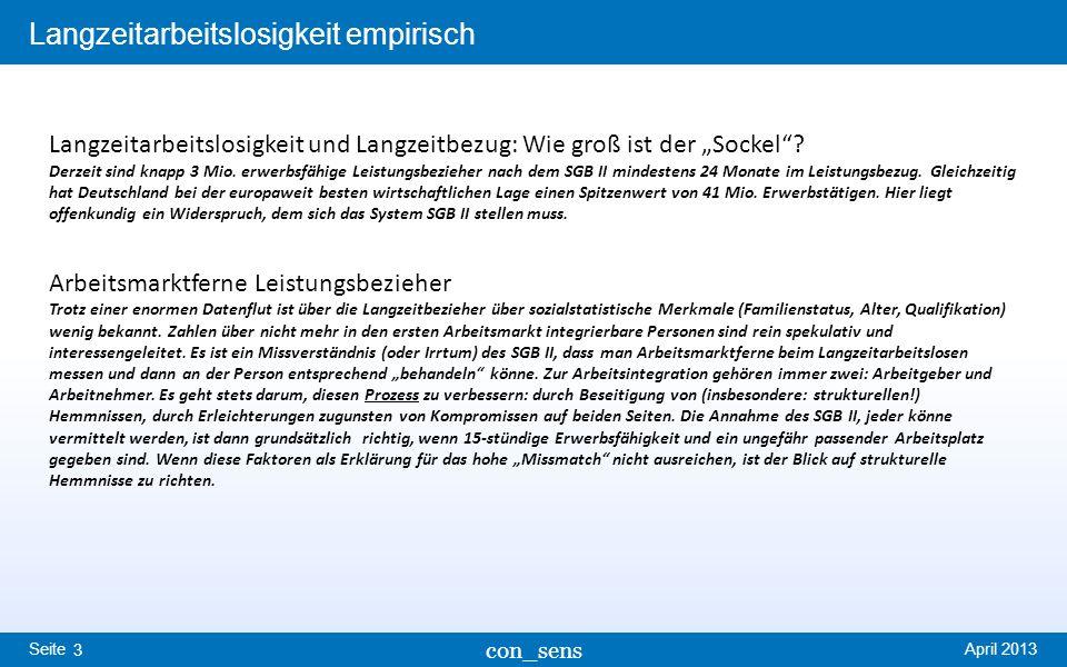 Seite Langzeitarbeitslosigkeit empirisch April 2013 con_sens 3 Langzeitarbeitslosigkeit und Langzeitbezug: Wie groß ist der Sockel? Derzeit sind knapp