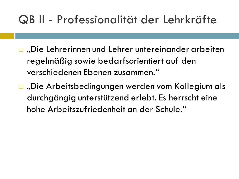 QB II - Professionalität der Lehrkräfte Die Lehrerinnen und Lehrer untereinander arbeiten regelmäßig sowie bedarfsorientiert auf den verschiedenen Ebe