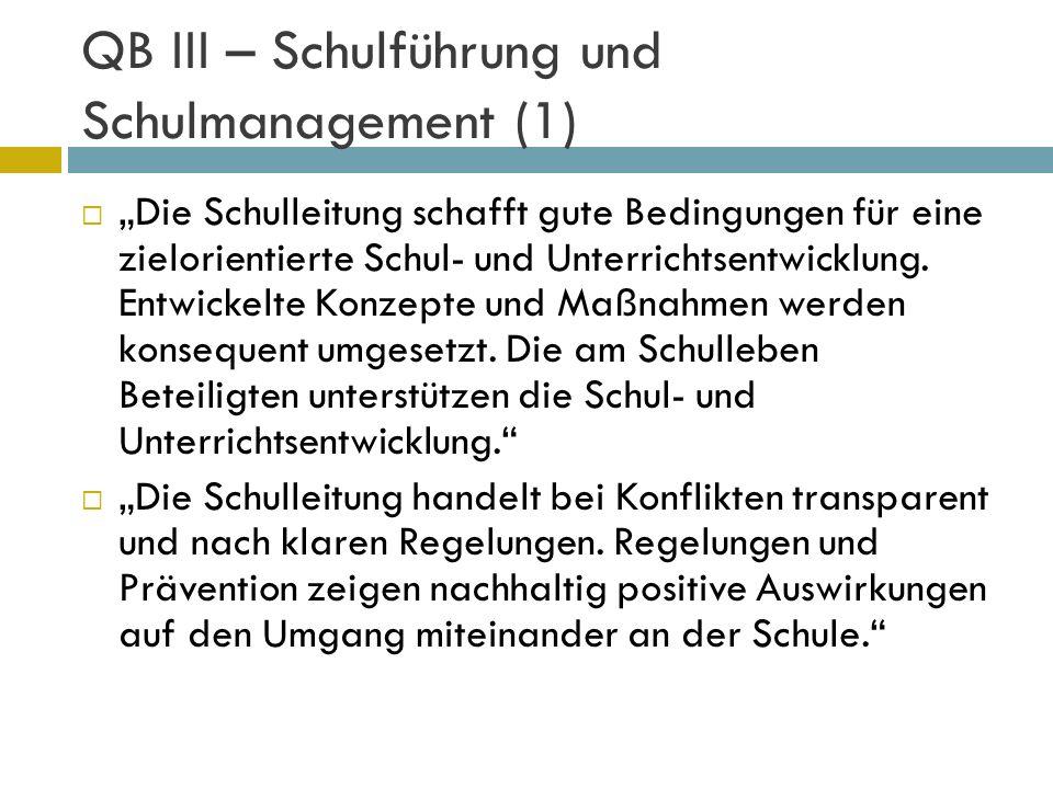 QB III – Schulführung und Schulmanagement (1) Die Schulleitung schafft gute Bedingungen für eine zielorientierte Schul- und Unterrichtsentwicklung. En