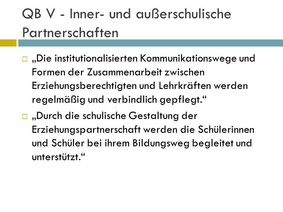 QB V - Inner- und außerschulische Partnerschaften Die institutionalisierten Kommunikationswege und Formen der Zusammenarbeit zwischen Erziehungsberech