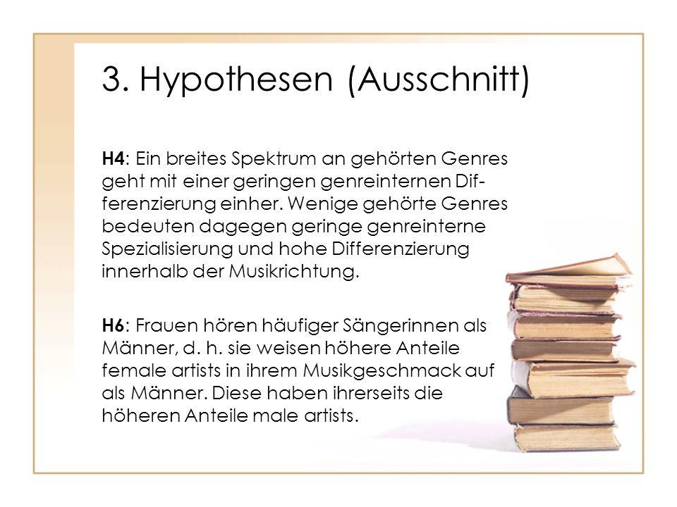 3. Hypothesen (Ausschnitt) H4 : Ein breites Spektrum an gehörten Genres geht mit einer geringen genreinternen Dif- ferenzierung einher. Wenige gehörte