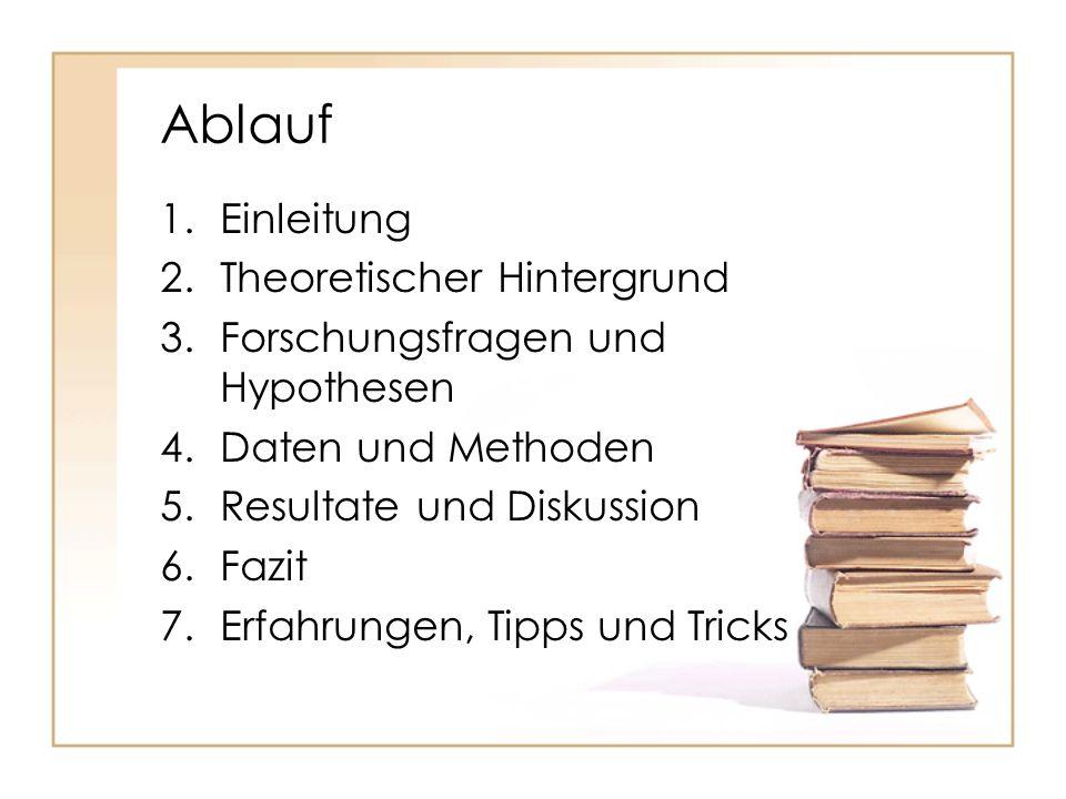 Ablauf 1.Einleitung 2.Theoretischer Hintergrund 3.Forschungsfragen und Hypothesen 4.Daten und Methoden 5.Resultate und Diskussion 6.Fazit 7.Erfahrunge