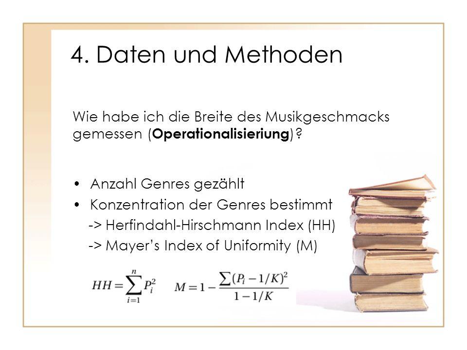 4. Daten und Methoden Anzahl Genres gezählt Konzentration der Genres bestimmt -> Herfindahl-Hirschmann Index (HH) -> Mayers Index of Uniformity (M) Wi