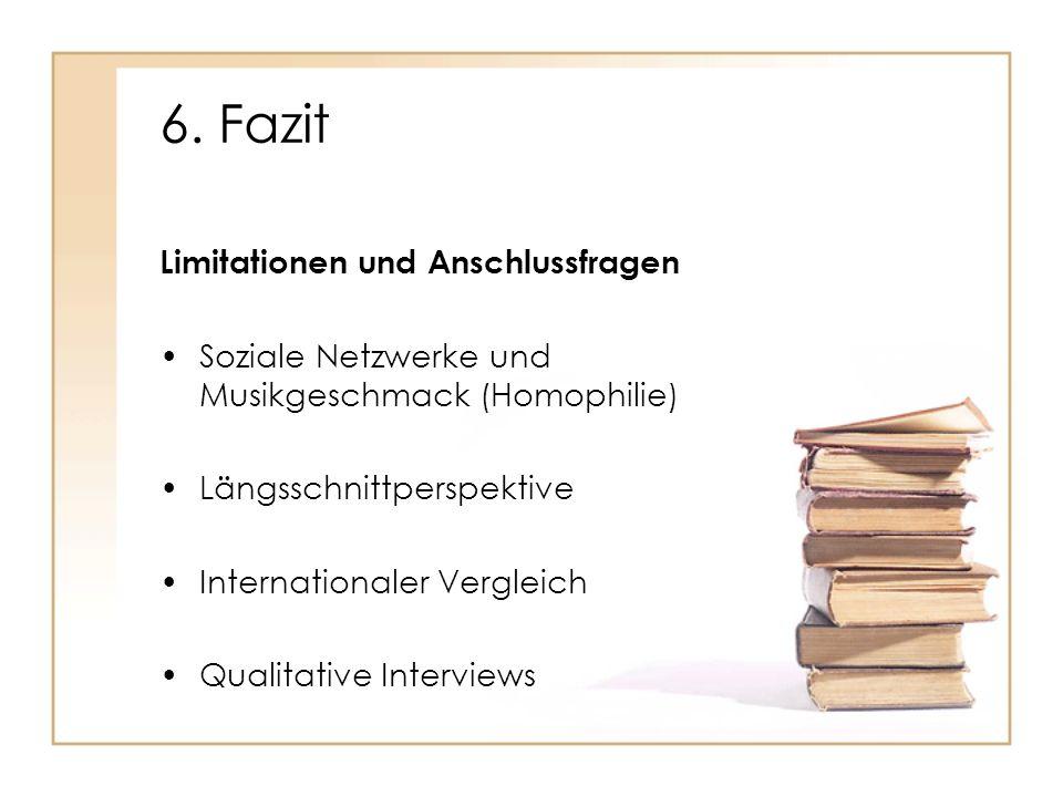 6. Fazit Limitationen und Anschlussfragen Soziale Netzwerke und Musikgeschmack (Homophilie) Längsschnittperspektive Internationaler Vergleich Qualitat