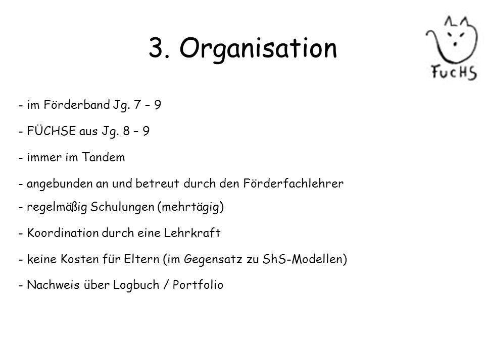 3. Organisation - im Förderband Jg. 7 – 9 - FÜCHSE aus Jg. 8 – 9 - immer im Tandem - angebunden an und betreut durch den Förderfachlehrer - regelmäßig