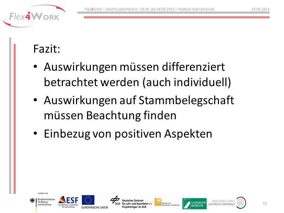 Fazit: Auswirkungen müssen differenziert betrachtet werden (auch individuell) Auswirkungen auf Stammbelegschaft müssen Beachtung finden Einbezug von positiven Aspekten Flex4Work – Abschlusskonferenz - 15.05.
