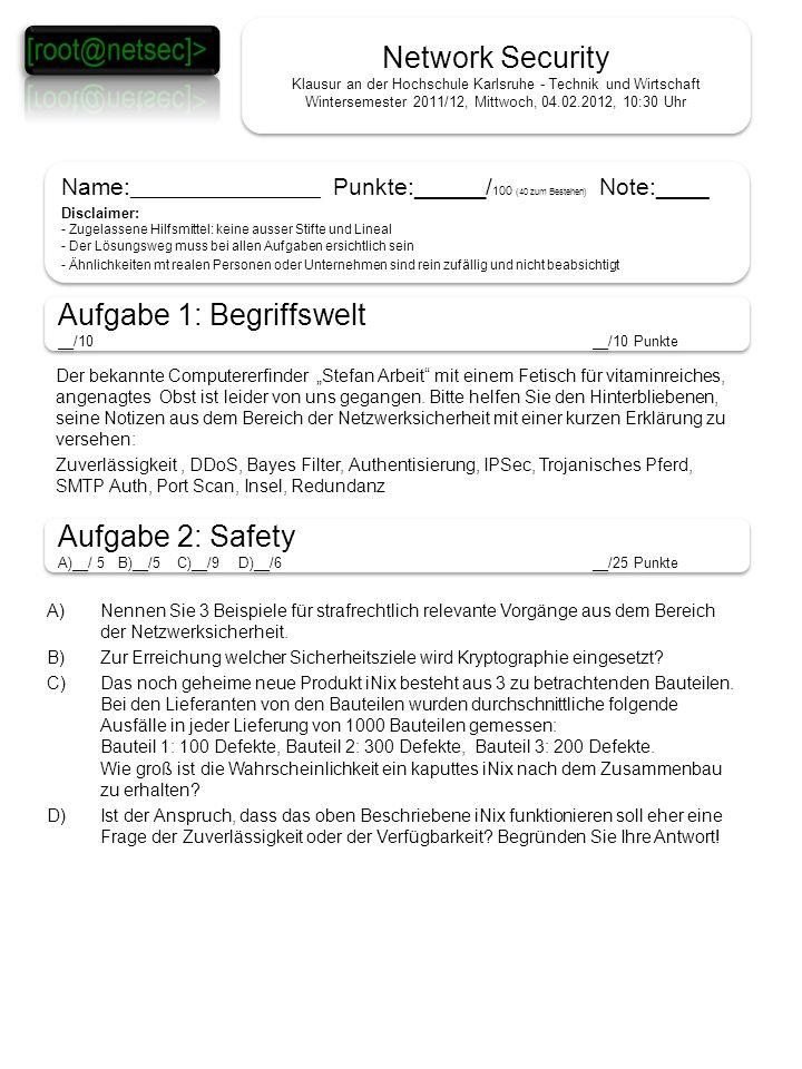 Network Security Klausur an der Hochschule Karlsruhe - Technik und Wirtschaft Wintersemester 2011/12, Mittwoch, 04.02.2012, 10:30 Uhr Name: ___________________ Punkte: ______ / 100 (40 zum Bestehen) Note:____ Disclaimer: - Zugelassene Hilfsmittel: keine ausser Stifte und Lineal - Der Lösungsweg muss bei allen Aufgaben ersichtlich sein - Ähnlichkeiten mt realen Personen oder Unternehmen sind rein zufällig und nicht beabsichtigt Name: ___________________ Punkte: ______ / 100 (40 zum Bestehen) Note:____ Disclaimer: - Zugelassene Hilfsmittel: keine ausser Stifte und Lineal - Der Lösungsweg muss bei allen Aufgaben ersichtlich sein - Ähnlichkeiten mt realen Personen oder Unternehmen sind rein zufällig und nicht beabsichtigt Aufgabe 1: Begriffswelt __/10__/10 Punkte Aufgabe 1: Begriffswelt __/10__/10 Punkte Aufgabe 2: Safety A)__/ 5 B)__/5 C)__/9 D)__/6 __/25 Punkte Aufgabe 2: Safety A)__/ 5 B)__/5 C)__/9 D)__/6 __/25 Punkte Der bekannte Computererfinder Stefan Arbeit mit einem Fetisch für vitaminreiches, angenagtes Obst ist leider von uns gegangen.