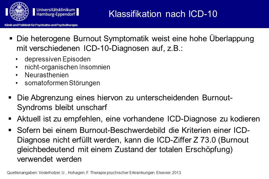 Klassifikation nach ICD-10 Die heterogene Burnout Symptomatik weist eine hohe Überlappung mit verschiedenen ICD-10-Diagnosen auf, z.B.: depressiven Ep