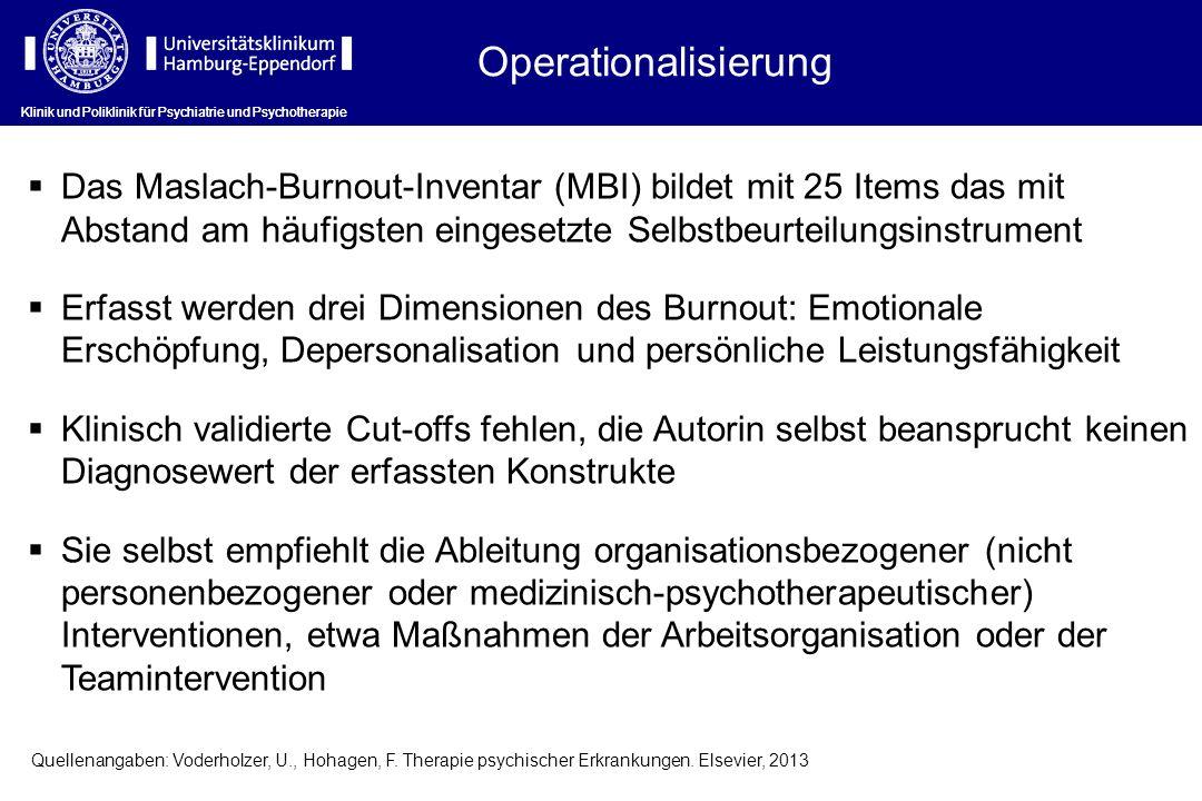 Operationalisierung Klinik und Poliklinik für Psychiatrie und Psychotherapie Das Maslach-Burnout-Inventar (MBI) bildet mit 25 Items das mit Abstand am