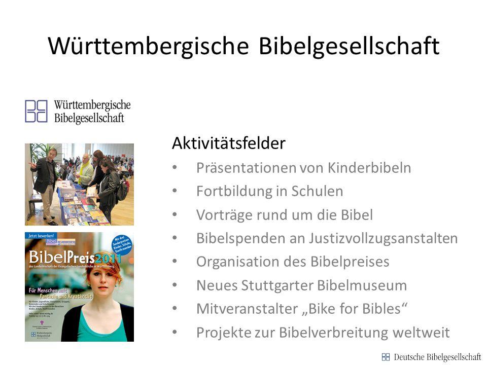 Württembergische Bibelgesellschaft Aktivitätsfelder Präsentationen von Kinderbibeln Fortbildung in Schulen Vorträge rund um die Bibel Bibelspenden an
