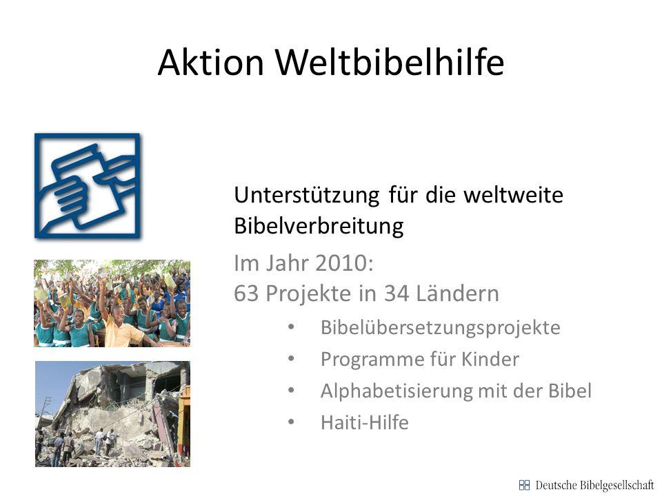 Aktion Weltbibelhilfe Unterstützung für die weltweite Bibelverbreitung Im Jahr 2010: 63 Projekte in 34 Ländern Bibelübersetzungsprojekte Programme für