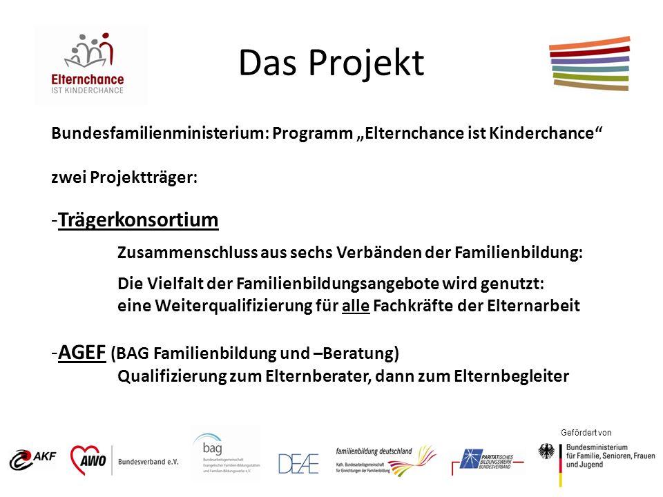 Gefördert von Das Projekt Bundesfamilienministerium: Programm Elternchance ist Kinderchance zwei Projektträger: -Trägerkonsortium Zusammenschluss aus