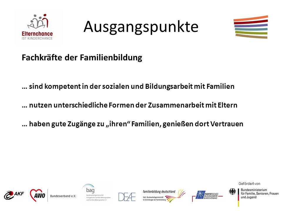 Gefördert von Ausgangspunkte Fachkräfte der Familienbildung … sind kompetent in der sozialen und Bildungsarbeit mit Familien … nutzen unterschiedliche