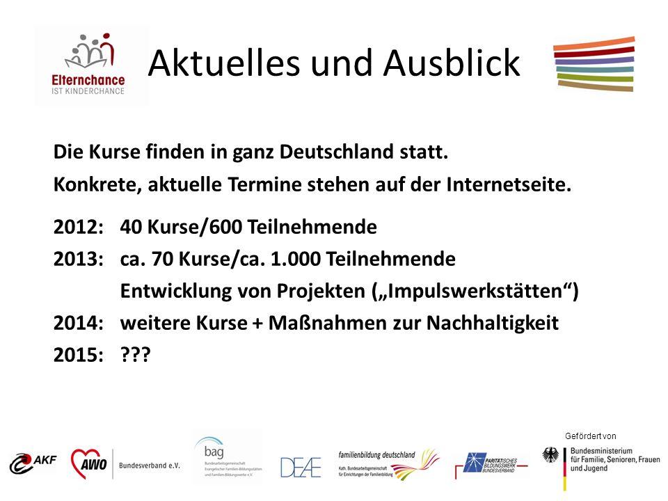 Gefördert von Aktuelles und Ausblick Die Kurse finden in ganz Deutschland statt. Konkrete, aktuelle Termine stehen auf der Internetseite. 2012: 40 Kur