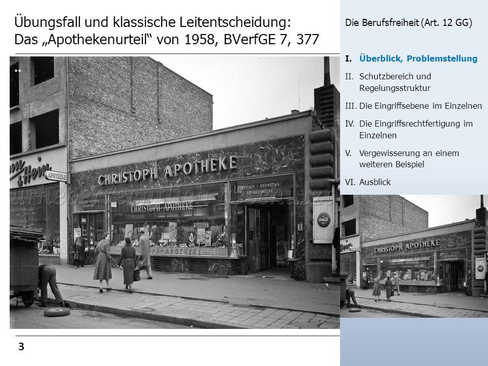 Übungsfall und klassische Leitentscheidung: Das Apothekenurteil von 1958, BVerfGE 7, 377 Die Berufsfreiheit (Art. 12 GG) I.Überblick, Problemstellung