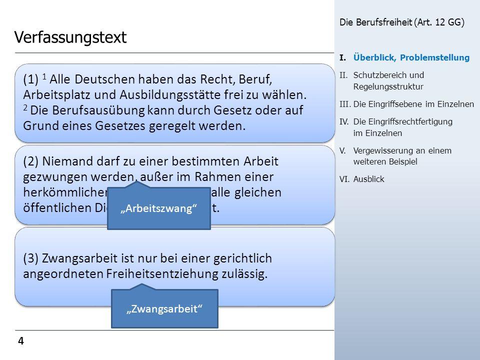 Verfassungstext ( 1) 1 Alle Deutschen haben das Recht, Beruf, Arbeitsplatz und Ausbildungsstätte frei zu wählen.