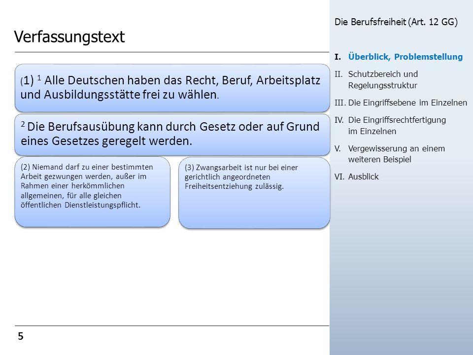 Verfassungstext ( 1) 1 Alle Deutschen haben das Recht, Beruf, Arbeitsplatz und Ausbildungsstätte frei zu wählen. 2 Die Berufsausübung kann durch Geset