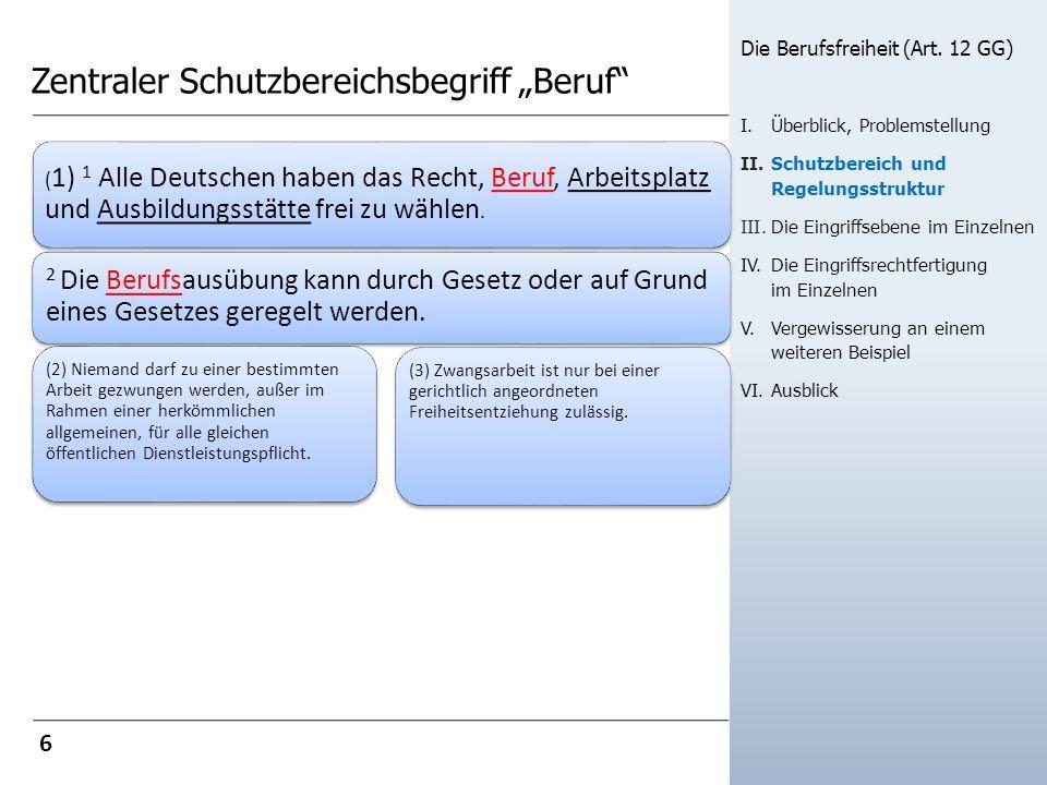 Zentraler Schutzbereichsbegriff Beruf ( 1) 1 Alle Deutschen haben das Recht, Beruf, Arbeitsplatz und Ausbildungsstätte frei zu wählen. 2 Die Berufsaus