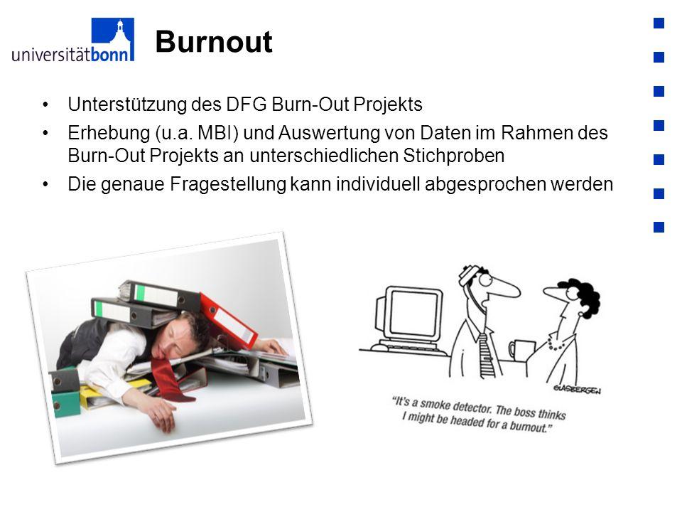 Burnout Unterstützung des DFG Burn-Out Projekts Erhebung (u.a. MBI) und Auswertung von Daten im Rahmen des Burn-Out Projekts an unterschiedlichen Stic