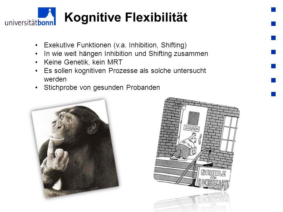 Kognitive Flexibilität Exekutive Funktionen (v.a. Inhibition, Shifting) In wie weit hängen Inhibition und Shifting zusammen Keine Genetik, kein MRT Es