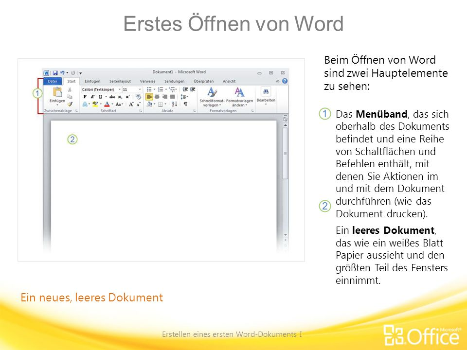 Einfach mit der Eingabe beginnen Erstellen eines ersten Word-Dokuments I Suchen Sie im Dokument nach der Einfügemarke (auch Cursor genannt).
