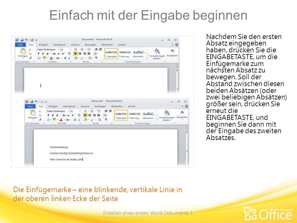 Kurzübersichtskarte Eine Zusammenfassung der in diesem Kurs behandelten Aufgaben finden Sie auf der Kurzübersichtskarte.Kurzübersichtskarte Erstellen eines ersten Word-Dokuments I