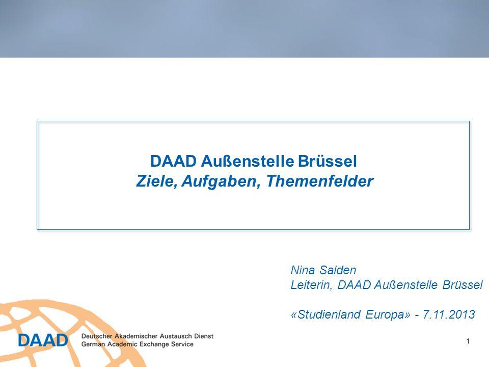 1 DAAD Außenstelle Brüssel Ziele, Aufgaben, Themenfelder Nina Salden Leiterin, DAAD Außenstelle Brüssel «Studienland Europa» - 7.11.2013