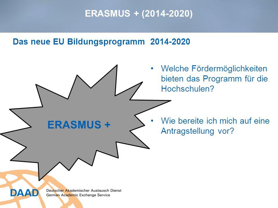 ERASMUS + (2014-2020) ERASMUS + Wie bereite ich mich auf eine Antragstellung vor? Das neue EU Bildungsprogramm 2014-2020 Welche Fördermöglichkeiten bi