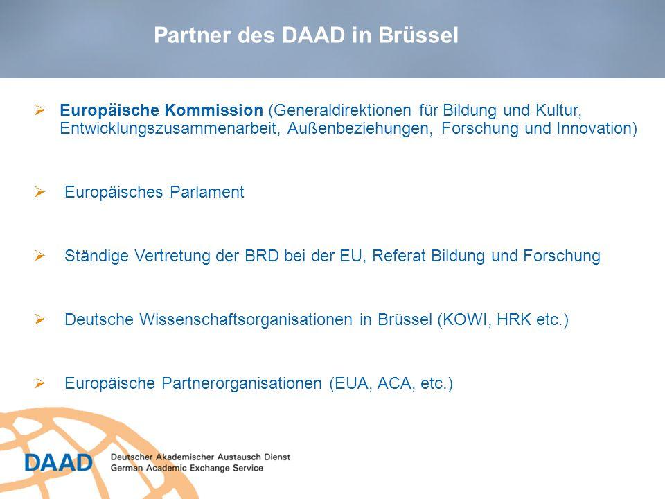 Zentrale Partner Europäische Kommission (Generaldirektionen für Bildung und Kultur, Entwicklungszusammenarbeit, Außenbeziehungen, Forschung und Innova