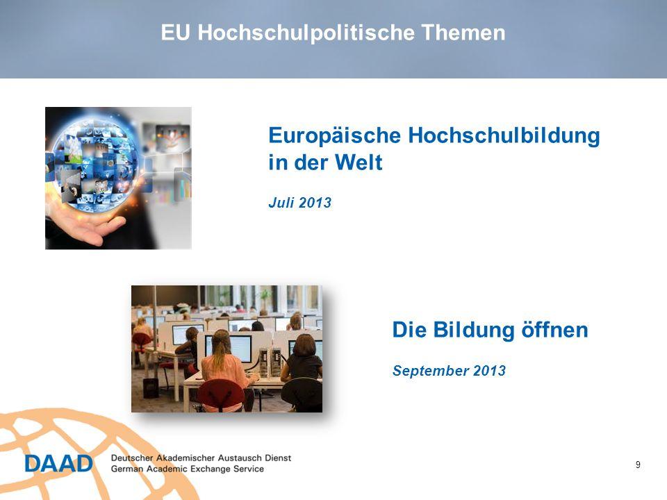 10 ~ 14,7 Milliarden Euros für die nächsten 7 Jahre ~ 14,7 Milliarden Euros für die nächsten 7 Jahre 40% Budgetsteigerung 40% Budgetsteigerung Bis zu 5 Milllionen Menschen mit Auslandserfahrung: Studium, Fortbildung, Freiwilligenarbeit, Lehrtätigkeit Erasmus+ EU Hochschulpolitische Themen
