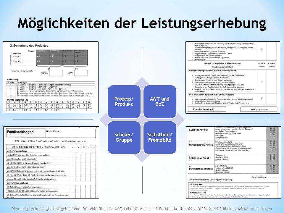 Möglichkeiten der Leistungserhebung Prozess/ Produkt AWT und BoZ Schüler/ Gruppe Selbstbild/ Fremdbild Dienstbesprechung Leittextgebundene Projektprüf