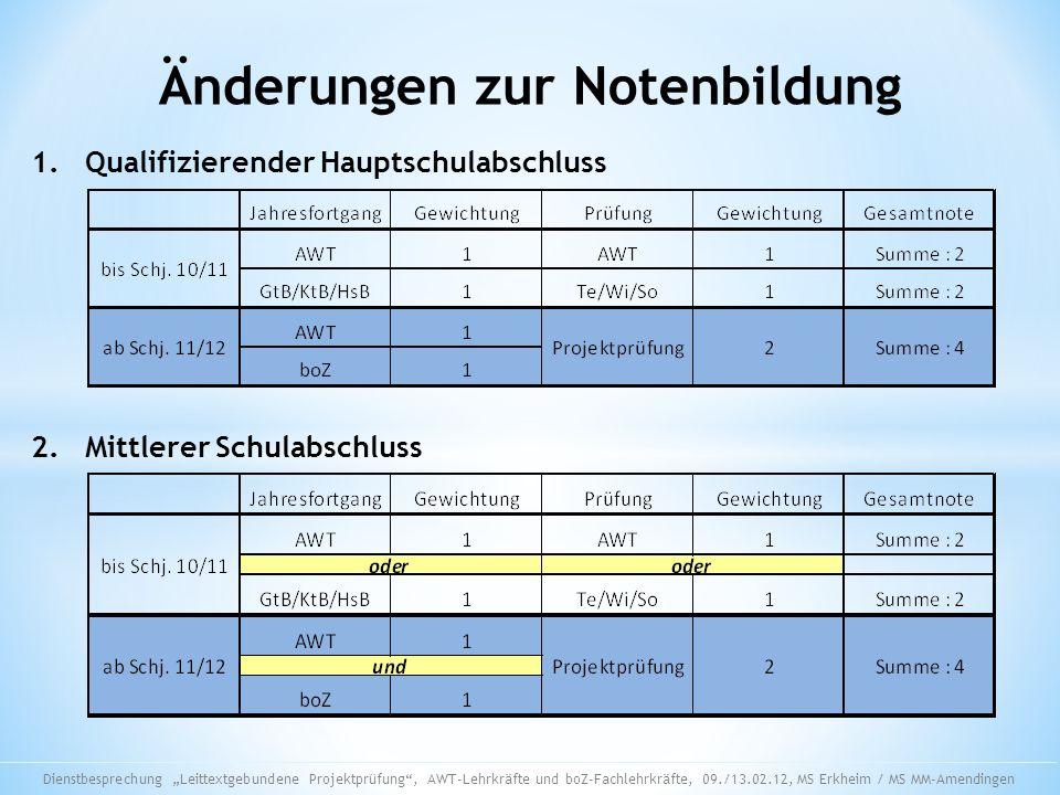 Änderungen zur Notenbildung 1. Qualifizierender Hauptschulabschluss 2. Mittlerer Schulabschluss Dienstbesprechung Leittextgebundene Projektprüfung, AW