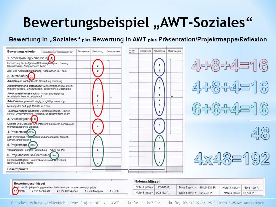 Bewertungsbeispiel AWT-Soziales Bewertung in Soziales plus Bewertung in AWT plus Präsentation/Projektmappe/Reflexion Dienstbesprechung Leittextgebunde