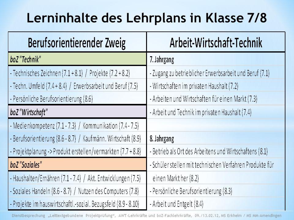 Lerninhalte des Lehrplans in Klasse 7/8 Dienstbesprechung Leittextgebundene Projektprüfung, AWT-Lehrkräfte und boZ-Fachlehrkräfte, 09./13.02.12, MS Er