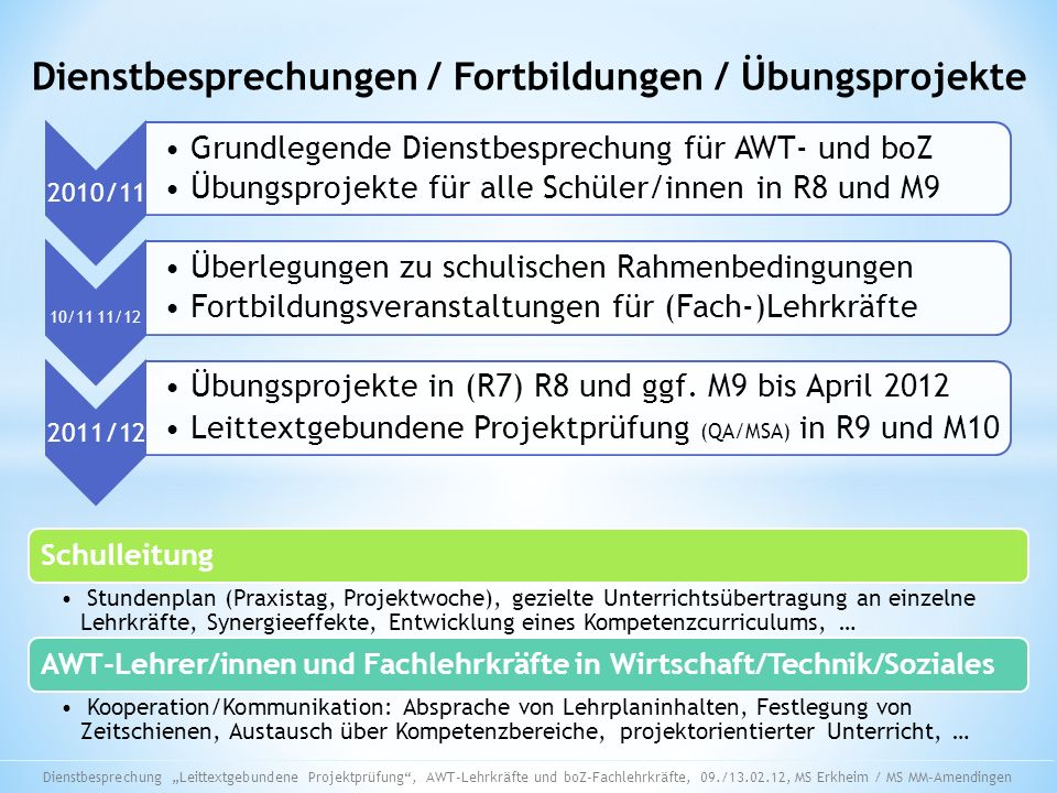 Dienstbesprechungen / Fortbildungen / Übungsprojekte 2010/11 Grundlegende Dienstbesprechung für AWT- und boZ Übungsprojekte für alle Schüler/innen in