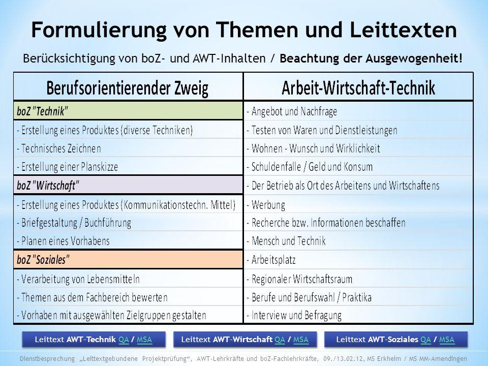 Formulierung von Themen und Leittexten Berücksichtigung von boZ- und AWT-Inhalten / Beachtung der Ausgewogenheit! Leittext AWT-Wirtschaft QA / MSAQAMS