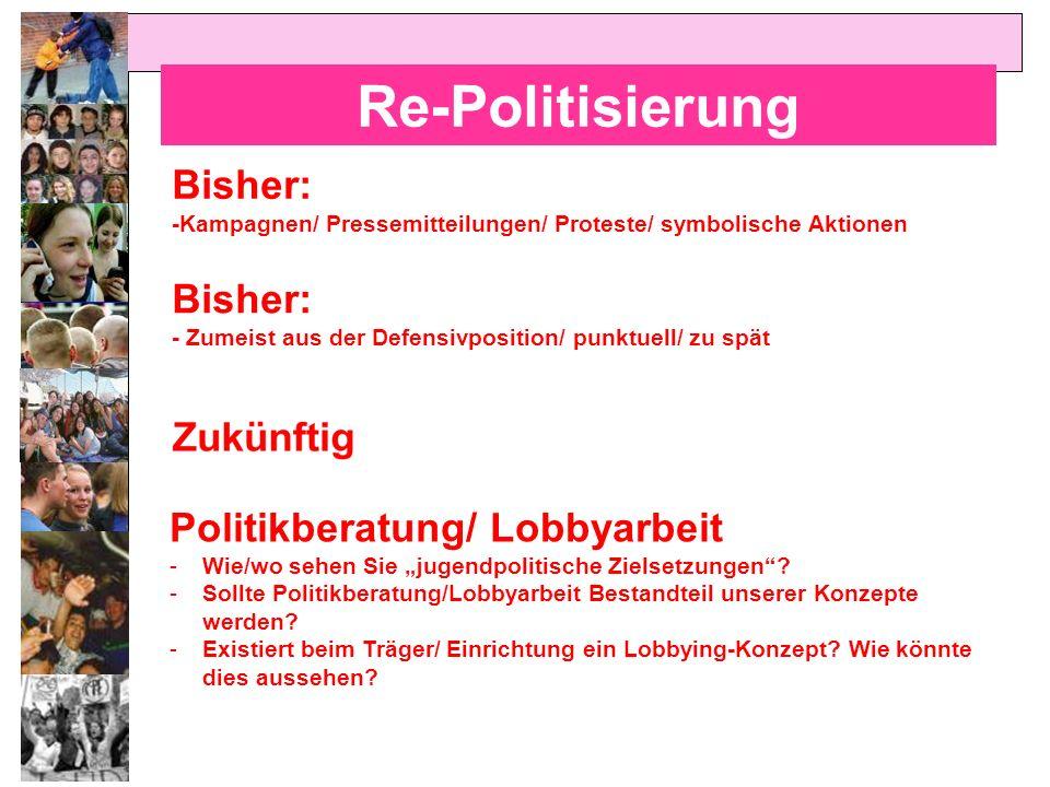 Re-Politisierung Bisher: -Kampagnen/ Pressemitteilungen/ Proteste/ symbolische Aktionen Bisher: - Zumeist aus der Defensivposition/ punktuell/ zu spät