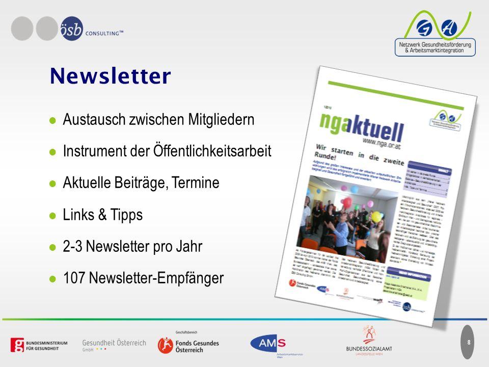 Austausch zwischen Mitgliedern Instrument der Öffentlichkeitsarbeit Aktuelle Beiträge, Termine Links & Tipps 2-3 Newsletter pro Jahr 107 Newsletter-Empfänger 8 Newsletter